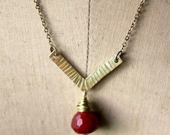 October Sale Boho Brass Pendant, Hammered Gold Brass Necklace, Red Gemstone Drop, Layering Necklace