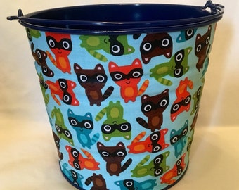 READY TO SHIP boys Storage or Gift Pail in Woodland aqua raccoons - Large Size