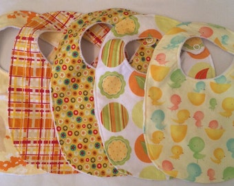 Baby Gift Set neutral boy or girl - 5 unixes Bibs with snap closures and minky backing READY TO SHIP