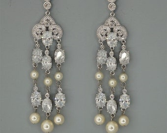 Long Bridal Earrings Chandelier Crystal Earrings Swarovski Pearls Wedding Earrings in Ivory and Off White Rhinestone Statement Earrings