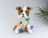 Australian Shepherd Red Tricolor Christmas Ornament Figurine Porcelain