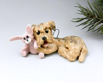 Border Terrier Christmas Ornament Figurine Rabbit Toy Porcelain
