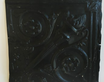 "AUTHENTIC 1890's Tin Ceiling Torch Tile Panel Black 12""x 12"" Arts and Crafts  RECLAIMED 239-16"