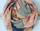 Vintage kantha quilt infinity scarf earthy tones