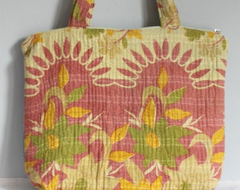 Multipurpose Bag with zipper vintage kantha blue