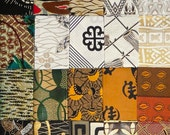 West African cotton prints - 20 black, orange and green fat eighths