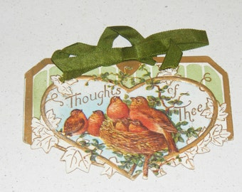 Antique Victorian Card Diecut  Embossed Birds in Nest with Silk Ribbon Thoughts of Thee