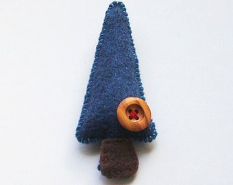 Handmade Felt Tree Magnet - denim blue with olive wood button