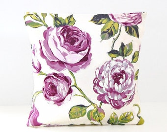 large mauve violet roses, green leaves floral cushion cover, 16 inch decorative pillow cover