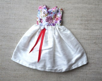 Blythe Dress - Floral and White Silk