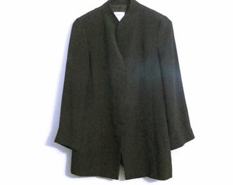 Armani Collezioni womens Mandarin collar black jacket - Size 6 to 8 - Made in Italy - Early 1990s - Excellent condition - Minimalism