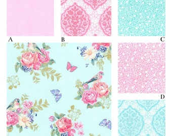 Shabby Chic Pink and Aqua Rose Baby Crib Bedding, Tweet La Vie Collection