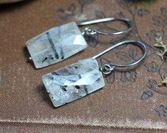 Tourmalinated Quartz Earrings Rustic Silver Black and White Earrings Gemstone Earrings Rustic Jewelry