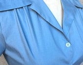Solid light blue (Version 2) 1940s style short sleeve cotton blouse S to XL Ready to Ship