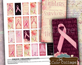 Breast Cancer Awareness Digital Collage Sheet 1x2 Domino Images for Pendants, Magnets, Bezel Settings, Decoupage Paper, Printable Paper