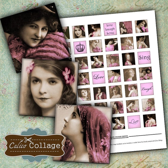 Touch of Pink Digital Collage Sheet 1x1 Inch Inchies Digital Sheet Pink Ladies Images French Decoupage Paper Calico Collage Graphics