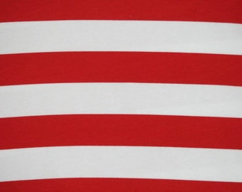 "Knit red stripes 1 yard cotton lycra knit 1"" stripes"