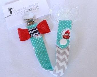 Baby Binky Clip, Little red riding hood print, Pacifier Clip,cotton fabric with a ribbon bow/ paci/binky/toy clip