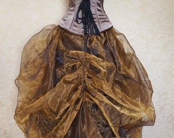 Clearance Bronze Gold Shot Organza Steampunk Full Length Tie On Bustle Skirt-One Size Fits All