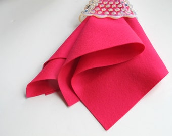 Hot Pink Felt, Pure Wool Felt, Nonwoven Fabric