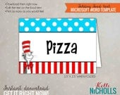 Cat in the Hat Party Food Tent, Dr. Seuss Birthday Decoration, Printable Template, Instant Download #B112