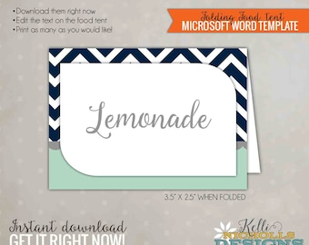 Mint & Navy Chevron Food Tent, Wedding Party Decoration, Printable Template, DIY, Instant Download #S123