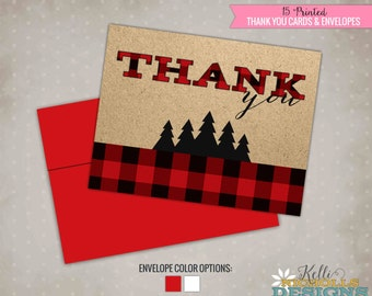 Lumberjack Birthday Party Thank You Notes, Red Buffalo Plaid Thank You Cards #B124