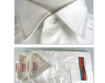 Vintage 50s NOS Mens Shirt XL XXL French Cuffs Dress Shirt in white Tooke Van Heusen