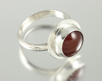 Sterling Silver Ring with a Bezel Set Red Agate Cabochon