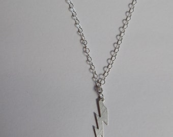 Silver Lightening Bolt Necklace Sterling Silver Simple Necklace