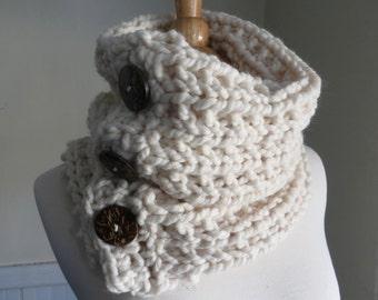 Chunky Knit Three-Button Neck Warmer. Cream