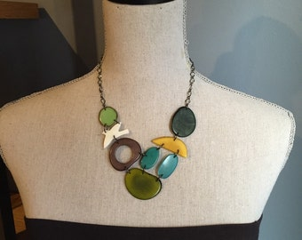 Green gray yellow turquoise necklace