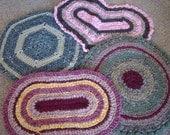 Custom order rag rug, lemon yellow, white, bell pepper green, rectangle rug, bathmat, bathroom rug, bungalow rug, crocheted rug