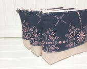 Cotton and Steel leather bottom cosmetic bag - Paper Bandana