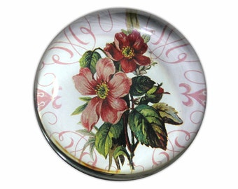 Round Glass Paperweight with Pink Flower Bouquet