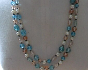 Double Strand Glass and Pearl Necklace REDUCED PRICE