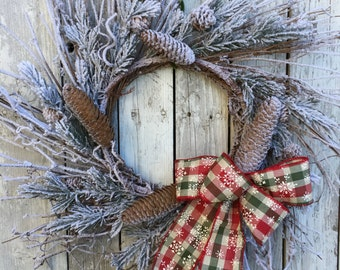 Christmas Wreath, Country Christmas Wreath, Snowy Wreath for Door, Rustic Christmas Wreath