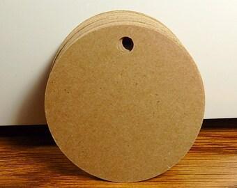 "Kraft Round Tags, Paper Circle Tags, Size 3"" circles, Set of 50"