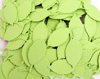 Paper leaves Pale Green leaves Tiny leaves Scrapbook leaves, Cardmaking die cuts Table confetti, Leaf Decorations Embelishment leaves