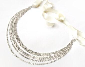 Sash - Draped Silver Wedding Dress Belt Sash - Satin Ribbon Tie - Extra Long Crystal Bridesmaid Belt - Bridal Sash - Silver Bridal Belt
