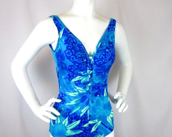 Vintage One Piece Floral Swimsuit, Sz S