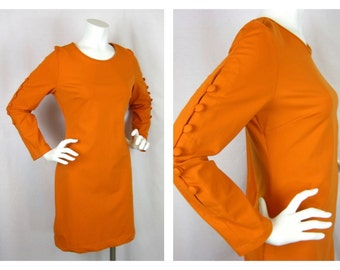 Vintage Cynthia Rowley Orange Knit Button Sleeve Dress, Sz L