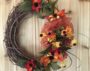 Spring Floral Wreath - Summer Floral Wreath - Orange Floral Wreath - Summer Door Wreath - Spring Door Wreath - Floral Wreath - Door Wreath