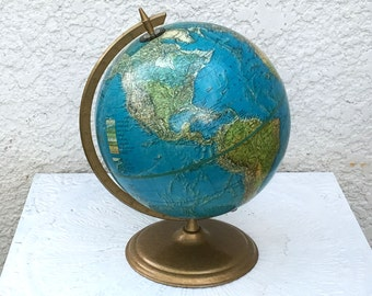 "Vintage Cram ""Enviro-Sphere"" 12"" Globe, Burnished Gold Metal Stand/Base"