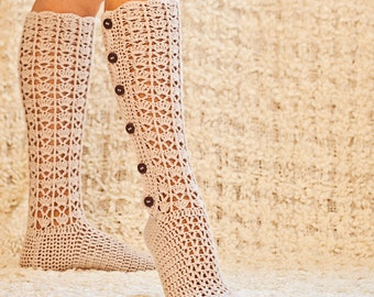 Crochet PATTERN - Knee High Buttoned Socks