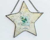 travel safely - antiqued mirror star collage with chain for hanging on wall or window