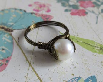 White Freshwater Pearl Ring, Antiqued Bronze Wire Wrapped Ring, 8mm Pearl Szie 7, 8, Gift For Mother, June Birthstone Jewelry