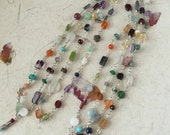 "Silver and Semi Precious Stone 50"" Necklace - Handmade Rosary Style Necklace - Multi Colored - Boho Chic - Double Wrap Necklace"