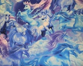 Breathtaking Blue and Purple Unicorn Cotton Fabric