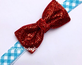 Ruby Slipper Red Glitter Hair Bow Light Blue and White Gingham Headband Elastic Stretch Sparkly Dorothy Inspired Kids